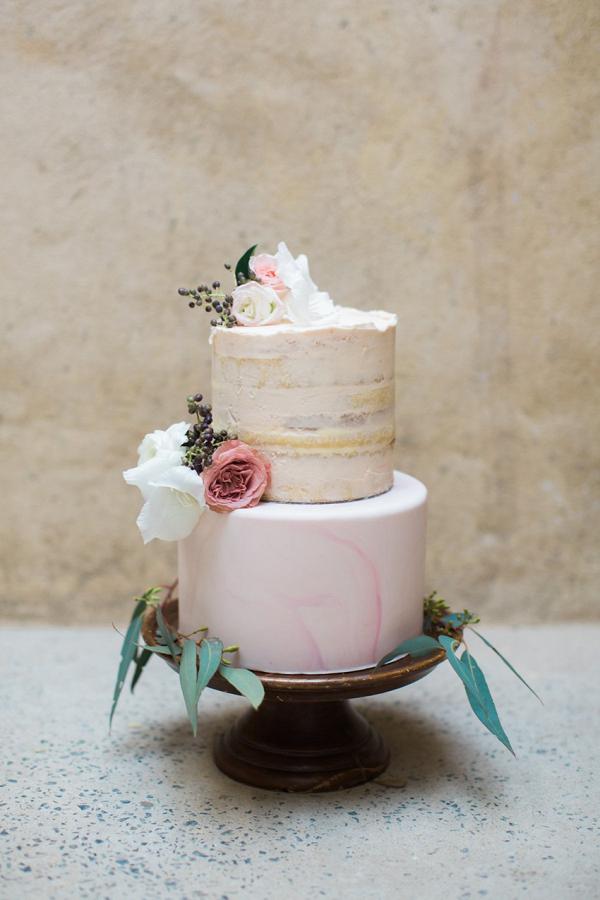 Marble Semi Naked Wedding Cake