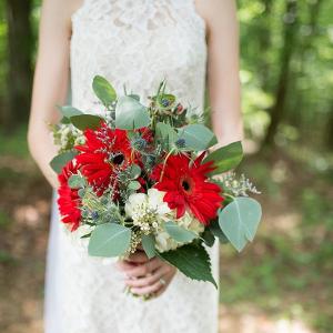 Red gerber daisy bouquet