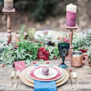 Plum and teal place setting