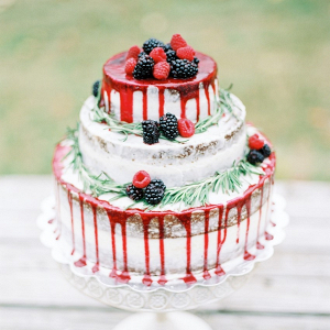 Red berry drip cake