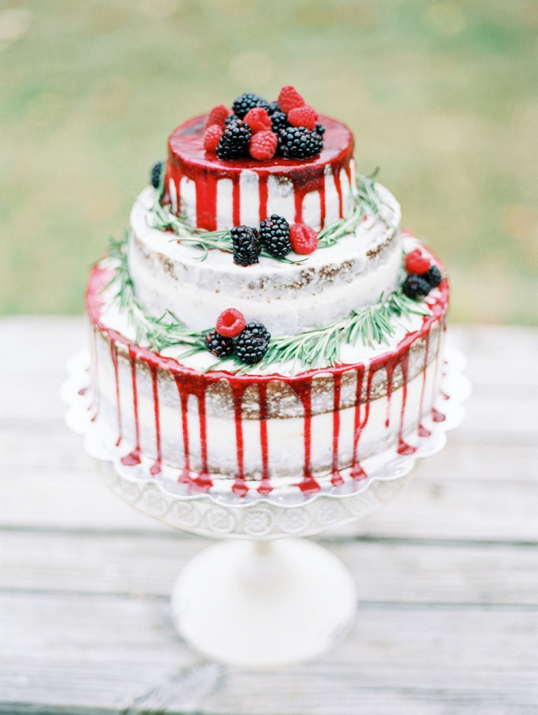 Berry Topped Winter Wedding Cake
