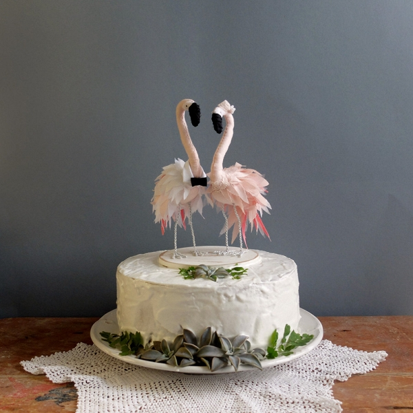 Handmade Flamingo Wedding Cake Topper