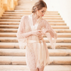Fleur Le Resort French Lace & Silk Bridal Robe