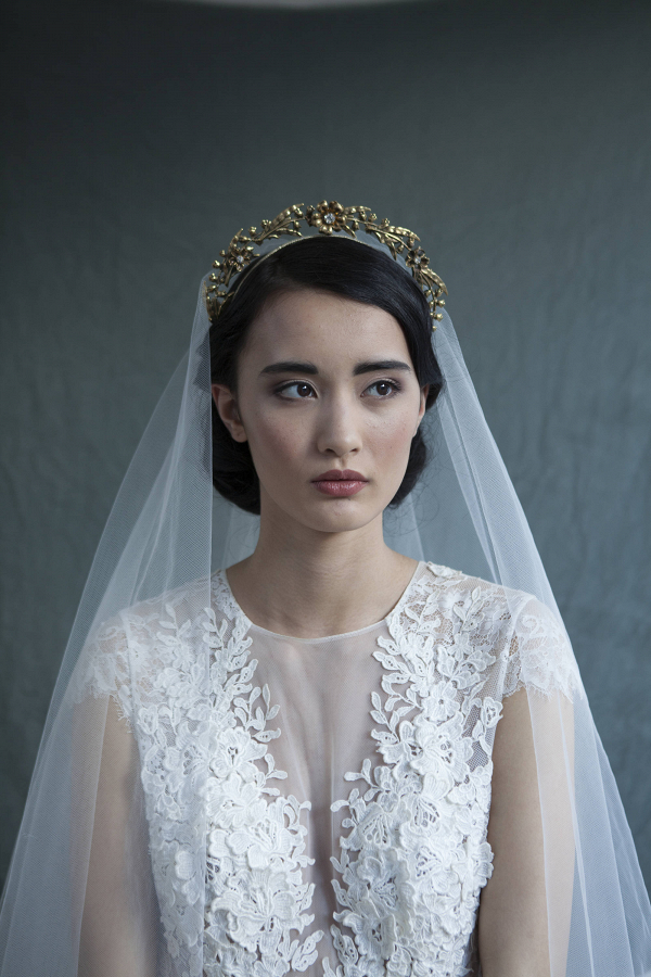 Antique Gold Floral Bridal Crown