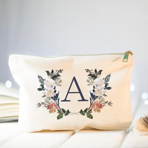 Floral Monogram Bridesmaid Makeup Bag