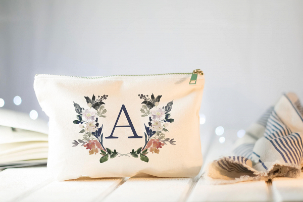Floral Monogram Bridesmaid Makeup Bag