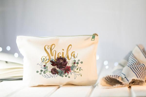 Floral Bridesmaid Makeup Bag