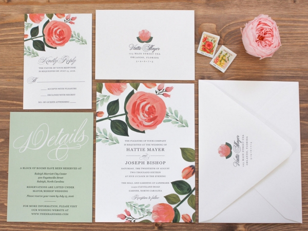 Floral Garden Wedding Invitation Suite
