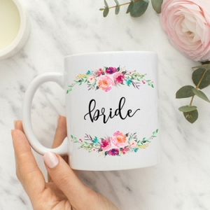 Floral Calligraphy Bride Mug
