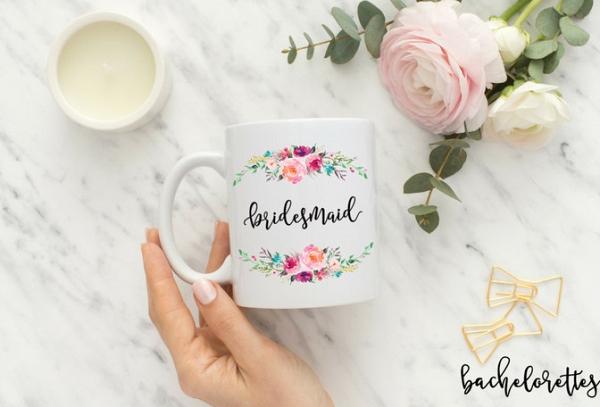 Calligraphy Floral Bridesmaid Mug