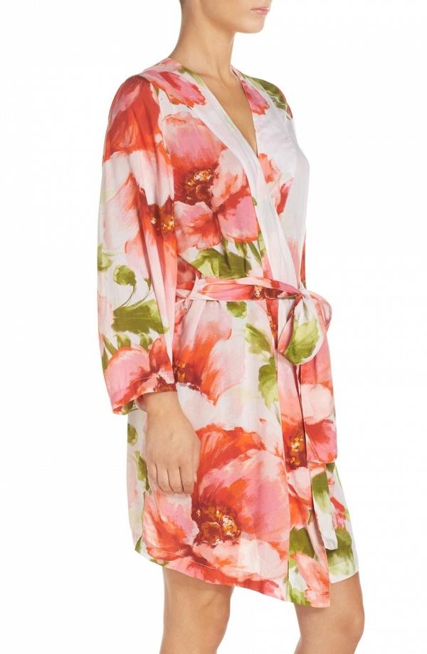 Floral Print Bridal Robe