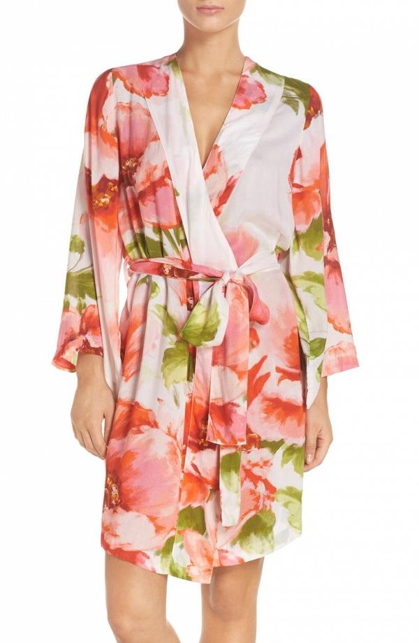 Floral Print Bridal Kimono Robe