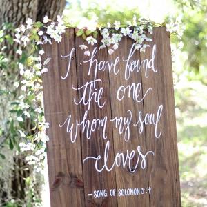 Wooden Calligraphy Wedding Sign
