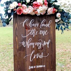 Rustic Wooden Calligraphy Wedding Sign