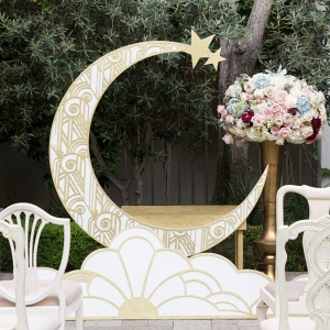 Art Deco Paper Moon Wedding Ceremony Backdrop