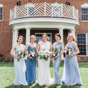 Mismatch blue bridesmaid dresses