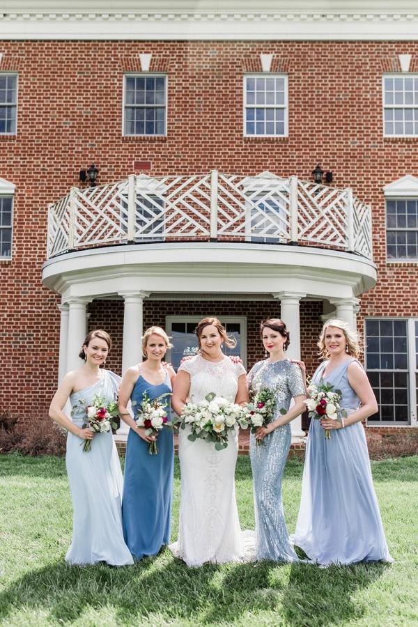 Mismatch blue bridesmaid dresses