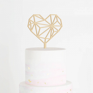 Geometric Heart Wedding Cake Topper