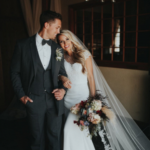 Vintage styled bride and groom