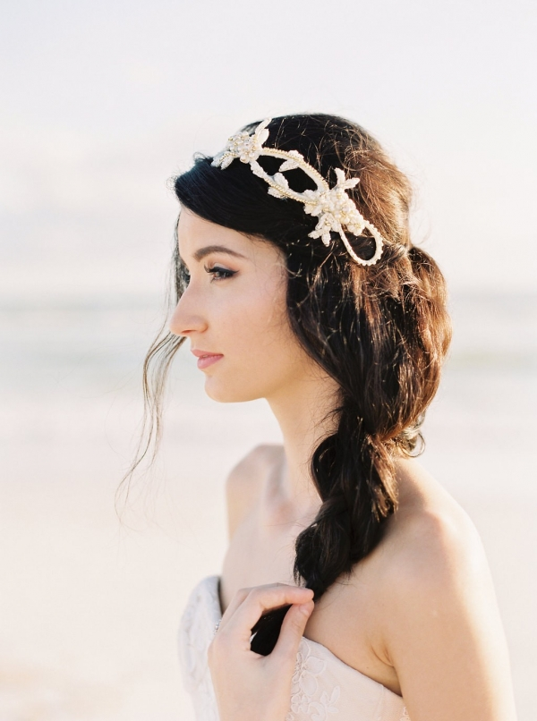 Gold Bridal Headband - Love | Photography - Sarah Joelle Photography
