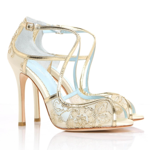 Gold Embroidered Lace Bridal Heels