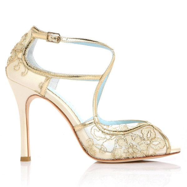 Gold Embroidered Lace Bridal Shoes