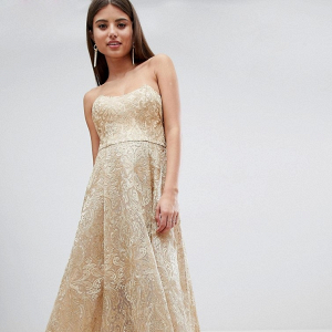 Hi Low Gold Wedding Dress