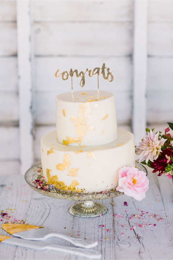 Gold-Dipped Porcelain Wedding Cake Serving Set
