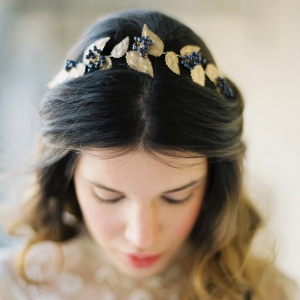 Elderberry & Gold Leaf Bridal Crown 'Agatha'