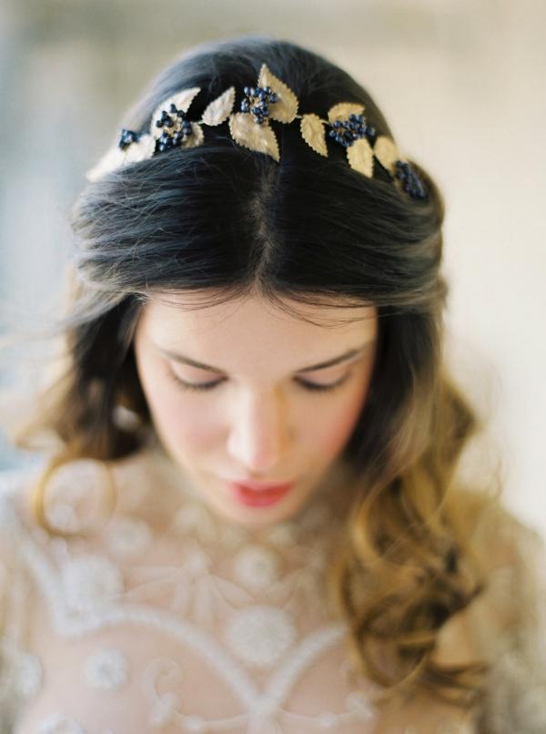 Elderberry & Gold Leaf Bridal Crown 'Agatha'