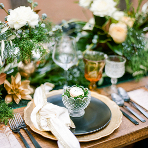 Green and gold place setting