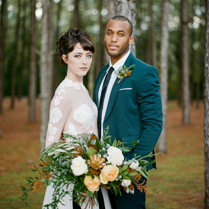 Woodland bride and groom