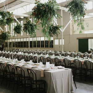 Wedding reception with hanging greenery