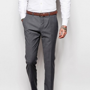 Gray Skinny Fit 3 Piece Groom's Suit Trousers