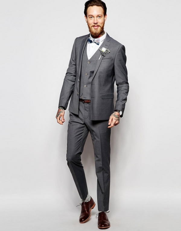 Gray Skinny Fit 3 Piece Groom's Suit