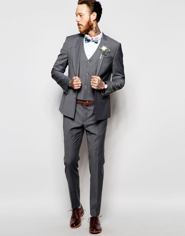 Gray Skinny Fit 3 Piece Suit - Aisle Society