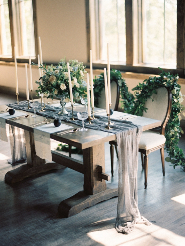 Grey Linen Wedding Table Runner
