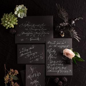 Gothic Black Wedding Stationery with White Calligraphy