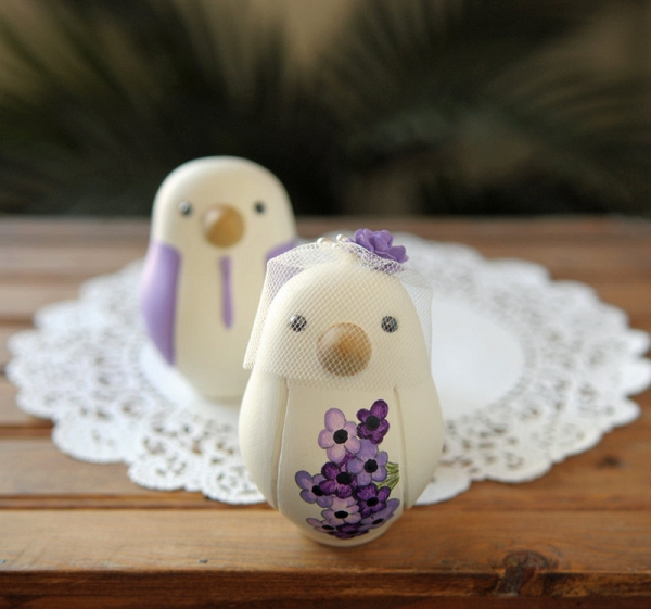 Hand-Painted Purple Love Birds Cake Toppers