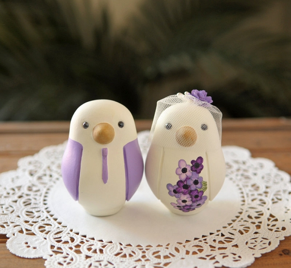Hand-Painted Love Birds Cake Toppers