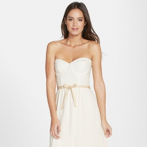 'Hannah' Lace Bodice Crepe Wedding Dress