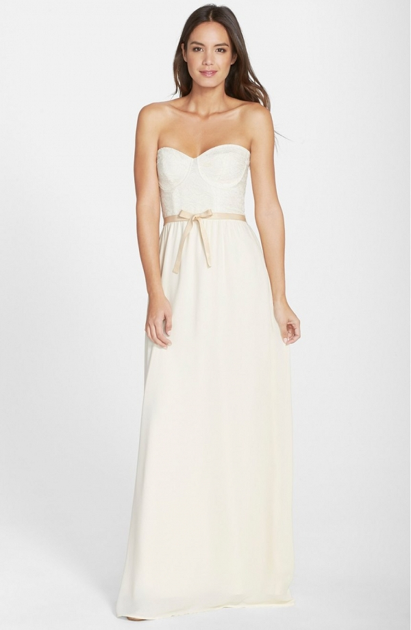 'Hannah' Lace Bodice Crepe Wedding Dress