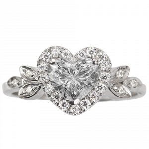 White Gold Heart Diamond Engagement Ring