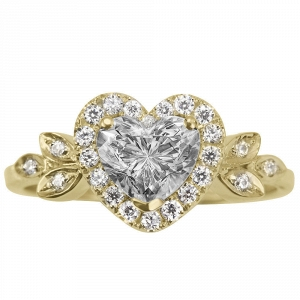 Yellow Gold Heart Diamond Engagement Ring