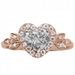 Rose Gold Heart Diamond Engagement Ring