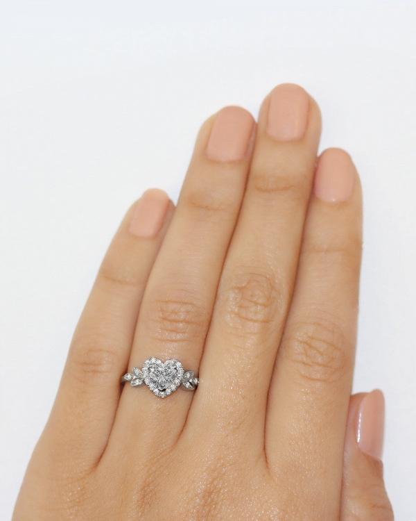 White Gold Heart Diamond Engagement Ring