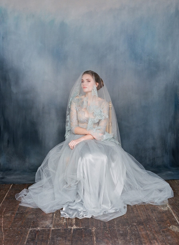 Blue Lace Wedding Dress - Nightingale from Emily Riggs Bridal