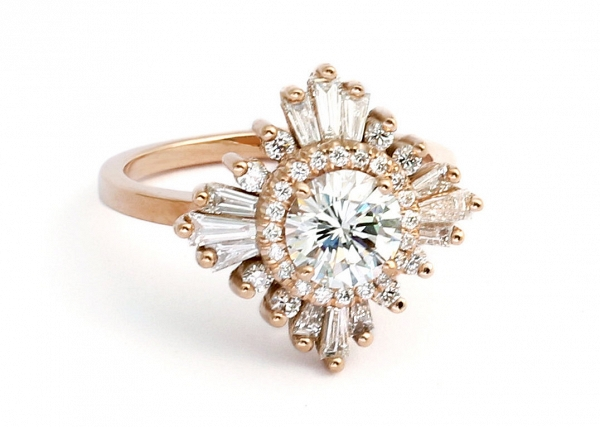 Heidi Gibson 'Gatsby' Art Deco Engagement Ring