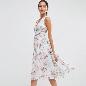 Romantic Floral Print Bridesmaids Dress