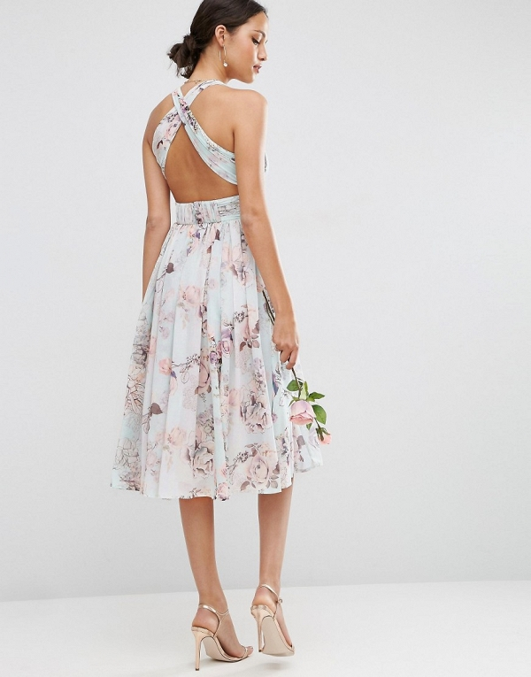 Knee Length Floral Bridesmaids Dress